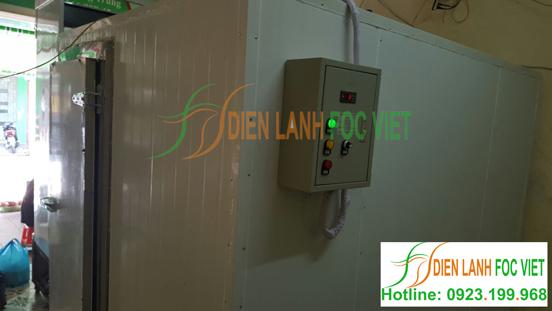 Kho lạnh bảo quản trái cây với thiết kế tủ điện điều khiển hiển thị nhiệt trong kho lạnh, có tích hợp cảnh báo quá nhiệt,quá dòng